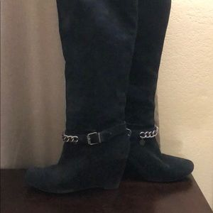 BCBGeneration Suede Black Wedge Boots with Chain